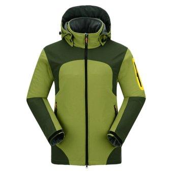 Men Outdoor Thermal Waterproof Windproof Lightweight Hiking CampingJackets(Army Green) - intl - 2