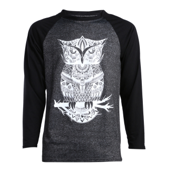 Men Owl Prints O-Neck T-Shirt Lovers Long Sleeve Shirt (Men)