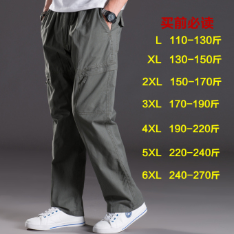 Men Plus-sized multi-with pockets trousers thin casual pants (2012 dark green)