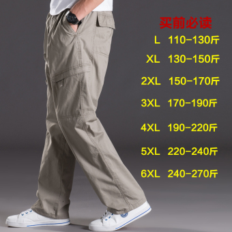 Men Plus-sized multi-with pockets trousers thin casual pants (2012 light gray)