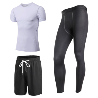 Men running training basketball shorts quick drying clothes fitness clothing (White short sleeved + black pants)