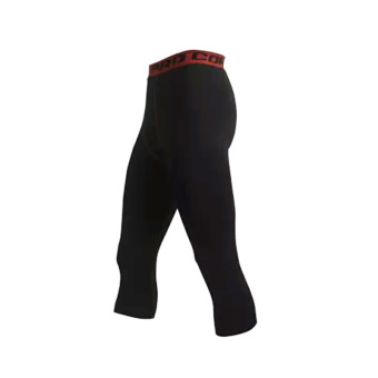 Men running training fitness leggings athletic pants (Black + Hong)