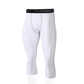Men running training fitness leggings athletic pants (White)