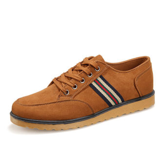 Men Shoes Sporty Lace-Ups Fashion Flat Shoes - Yellow