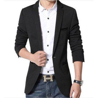 Men slim fit fashion cotton blazer Suit Jacket black blue khakiplus size M to 5XL Male blazers Mens coat Wedding dress(Red) - 5