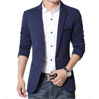 Men slim fit fashion cotton blazer Suit Jacket black blue khakiplus size M to 5XL Male blazers Mens coat Wedding dress(Red) - 4