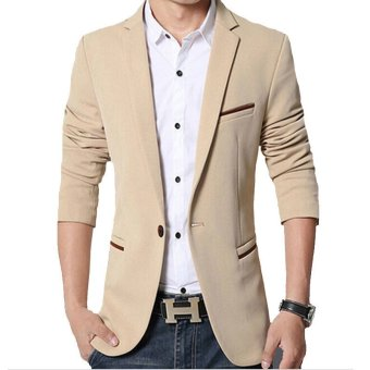 Men slim fit fashion cotton blazer Suit Jacket khaki