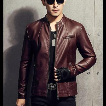Men Slim PU Leather Jacket Classic Thick Warm Coat(Red) - intl - 5