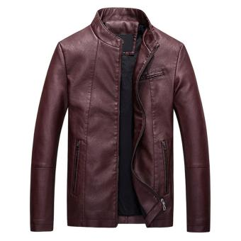 Men Slim PU Leather Jacket Classic Thick Warm Coat(Red) - intl