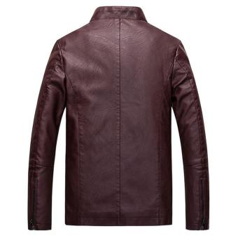 Men Slim PU Leather Jacket Classic Thick Warm Coat(Red) - intl - 2