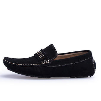 Men Spring and Autumn Fashion Leather Loafers - Black - picture 2