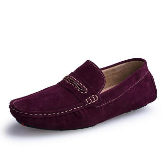 Men Spring and Autumn Fashion Leather Loafers - Wine Red