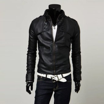 Men Stand Collar Motorcycle PU Leather Coat Jacket Black
