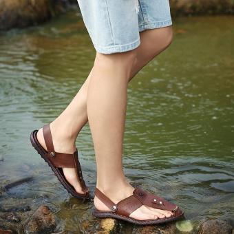 Men Summer Beach Shoes Sandals Fashion Designers Men Sandals Brand Leather Slippers for Men Sandals ( Dark Brown) - intl - 4