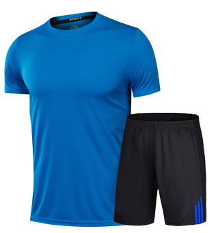 Men summer fitness running shuttlecock clothes (339 black and blue suit)