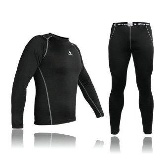 Men Thermal Fleece Compression Base Layer Shirt Leggings Tights Set- INTL - 2