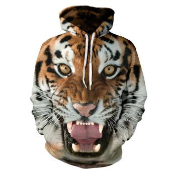 Men Tiger 3D Printing Loose Hooded Sweater Coat Jacket - intl