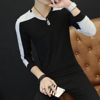 Men v-neck Slim fit Top New style long-sleeved t-shirt (Black 16610)