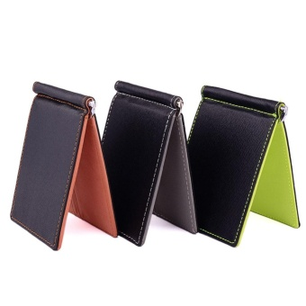 Men Wallet Short Wallets Leather Purses PU Leather Money ClipsSolid Thin Wallet Wallets For Men 3 Colors 02# - intl - 3