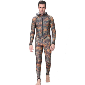 Men Wetsuits Hooded Snorkeling Diving Wet Suit Full Body Skins UV Swimwear Rashguard Jellyfish Full Suit Swimsuit - camo - intl