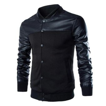Men Winter Casual Leather Sleeves Jacket Outerwear Black L - intl