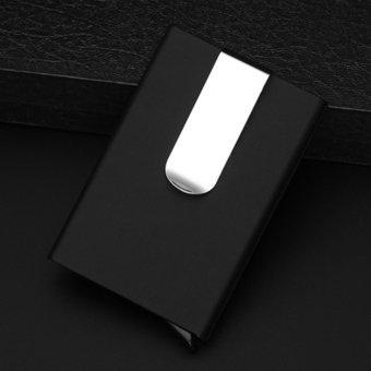 Men Women Aluminum Slim ID Credit Card Protector Holder Purse Wallet Money Clip Black - intl - 3