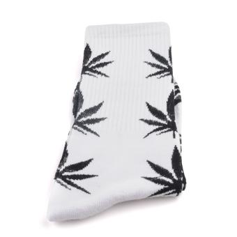 Men Women Leaf Cotton Ankles High Sock Casual Socks (Black)