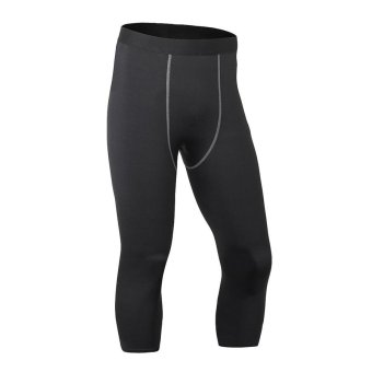 Men's Athletic Pro Compression Capris Shorts Baselayer Cool Dry Sports Fitness Gym Running Tights 3/4 Pants - black - intl