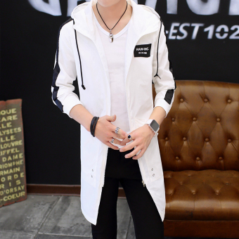 Men's autumn cloak Korean-style hooded jacket coat (White)