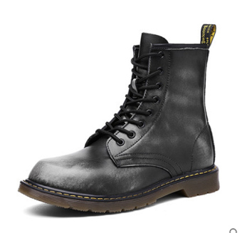 Men's British-style High Cut Ankle Boot Black Leather Cotton Shoe (Gray)