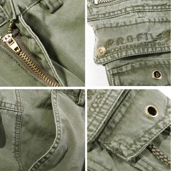 Men's Cargo Pants Casual Multi Pocket Trousers No Belts(Khaki) - 2