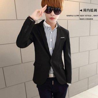 Men's Casual One Button Slim Fit Suit Coat Jacket (Black) - intl - 2