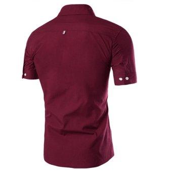 Men's Casual Slim Fit Short Sleeve Button-down Shirt (Burgundy) - 2