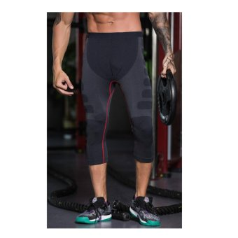 Men's Compression 3/4 Capri Shorts Baselayer Cool Dry Sports Tights - intl