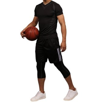 Men's Compression Capri Shorts Baselayer Cool Dry Sports Tights for Basketball fitness - intl - 4