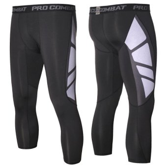 Men's Compression Capri Shorts Baselayer Cool Dry Sports Tights for Basketball fitness - intl - 2