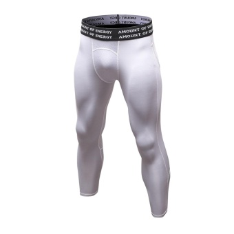 Men's Compression Fitness Pants 3/4 Sports Tights Leggings(White) - intl - 4
