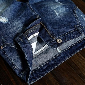 Men's Denim Hole Middle Pants Frayed Fifth Jeans Breeches Jeans Pirate Shorts For Men Hot Pants - intl - 3
