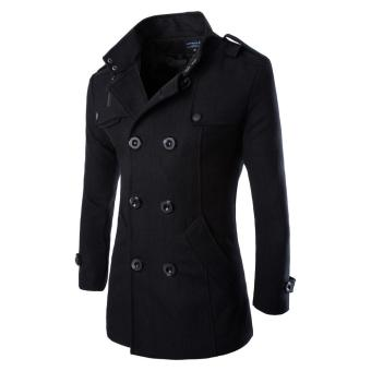 Men's Double Breasted Trench Coats Black