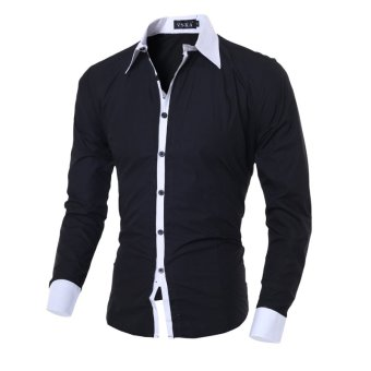 Men's fashion casual solid color long-sleeved shirt Slim black - Intl