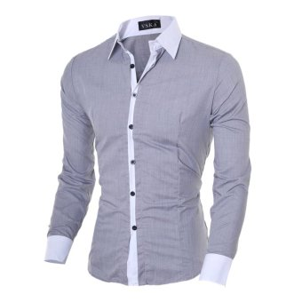 Men's fashion casual solid color long-sleeved shirt Slim gray - Intl