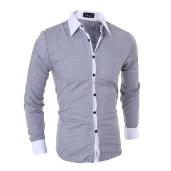 Men's fashion casual solid color long-sleeved shirt Slim gray - Intl - 2