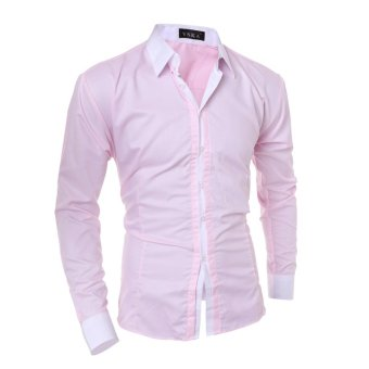 Men's fashion casual solid color long-sleeved shirt Slim pink - Intl