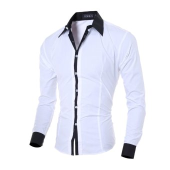 Men's fashion casual solid color long-sleeved shirt Slim white - Intl