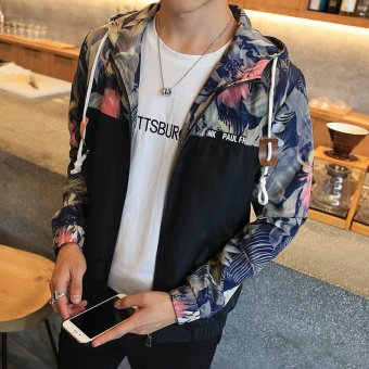 Men's Fashion Hooded Regular Lightweight Jackets Polyester?Athletic Jackets With Floral Black - intl - 3