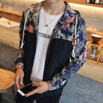 Men's Fashion Hooded Regular Lightweight Jackets Polyester?Athletic Jackets With Floral Black - intl - 4