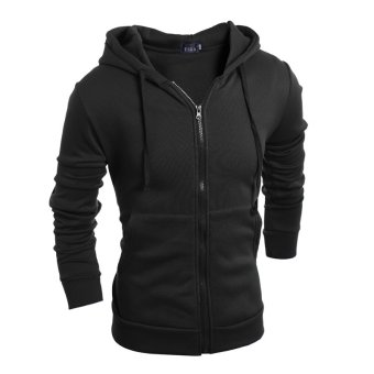 Men's fashion sports sweater solid color zipper jacket (Black)- INTL