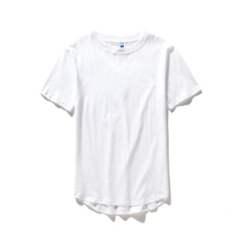 Men's Fashionable Plus Size Loose Arc Hem 100% Cotton Batwing T-Shirt (Long Base T white)