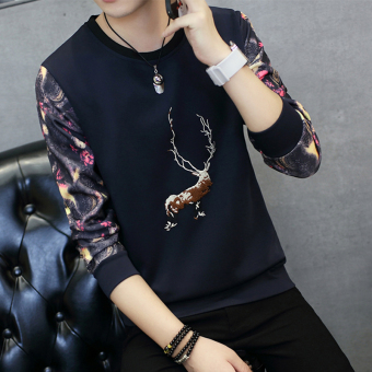 Men's Fashionable Slim Fit Round Neck Long Sleeve Shirt (Embroidered deer dark blue)
