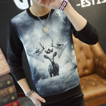 Men's Fashionable Slim Fit Round Neck Long Sleeve Shirt (Three head deer black)